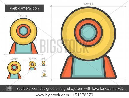 Web camera vector line icon isolated on white background. Web camera line icon for infographic, website or app. Scalable icon designed on a grid system.