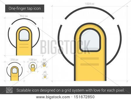 One-finger tap vector line icon isolated on white background. One-finger tap line icon for infographic, website or app. Scalable icon designed on a grid system.