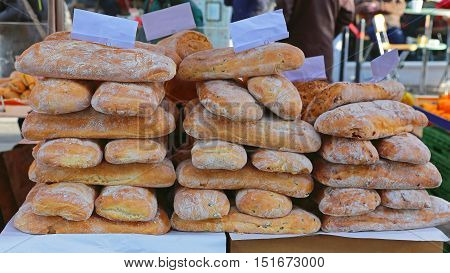 Loaves of Bread at Farmers Market Stall