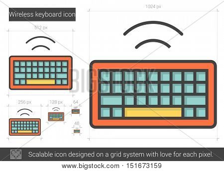 Wireless keyboard vector line icon isolated on white background. Wireless keyboard line icon for infographic, website or app. Scalable icon designed on a grid system.