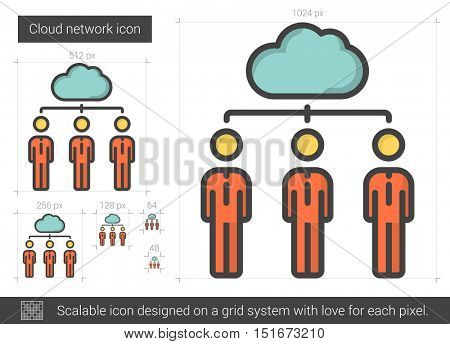 Cloud network vector line icon isolated on white background. Cloud network line icon for infographic, website or app. Scalable icon designed on a grid system.