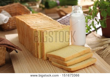 Sliced Bread and bottle of milk for breakfast