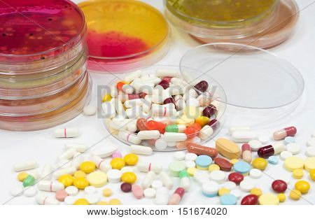 Pharmaceutical Medicament, Cure In Container For Health.