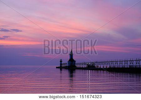 St. Joseph North Pier Lights, built in 1906-1907, Lake Michigan, MI, USA