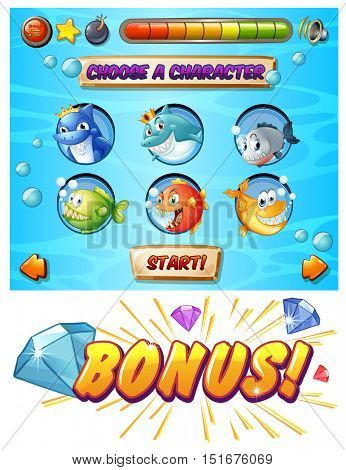 Game template with fish and shark characters illustration
