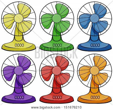 Electric fans in six different colors illustration