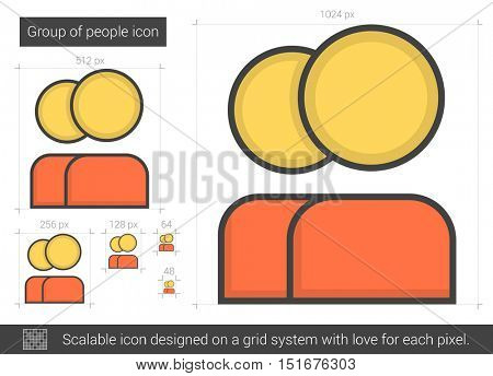 Group of people vector line icon isolated on white background. Group of people line icon for infographic, website or app. Scalable icon designed on a grid system.