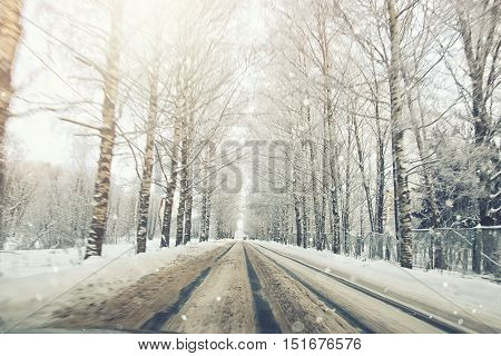 road in the snowy storm winter outdoor