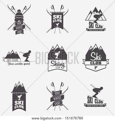 Set of ski club Patrol Labels. Bundle of vintage mountain winter camp explorer badges. Outdoor adventure logo design.