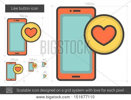 Like button vector line icon isolated on white background. Like button line icon for infographic, website or app. Scalable icon designed on a grid system.