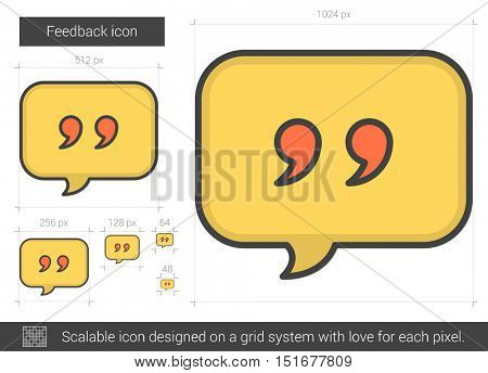 Feedback vector line icon isolated on white background. Feedback line icon for infographic, website or app. Scalable icon designed on a grid system.