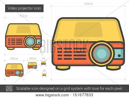 Video projector vector line icon isolated on white background. Video projector line icon for infographic, website or app. Scalable icon designed on a grid system.