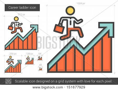 Career ladder vector line icon isolated on white background. Career ladder line icon for infographic, website or app. Scalable icon designed on a grid system.