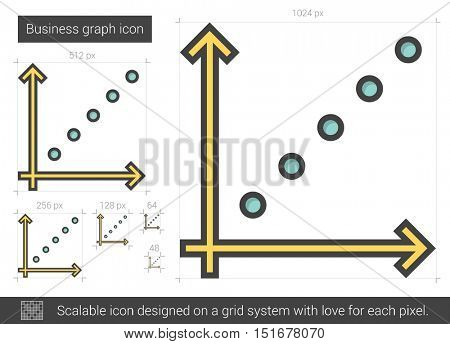 Business graph vector line icon isolated on white background. XXX line icon for infographic, website or app. Scalable icon designed on a grid system.