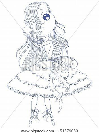 Cute anime ballerina in tutu holding in her hands star. Cartoon character. Vector illustration