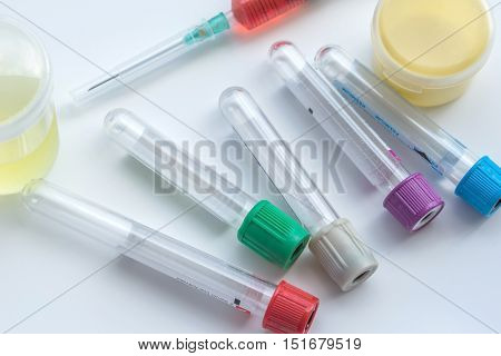 Lab Equipments : Bottle Vaccine, Blood Tube,needle,syring, Urine Box, Sputum Box.