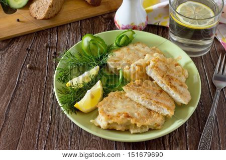Fried Fish With Potato Batter - Healthy Eating, Diet, Or The Concept Of Cooking.