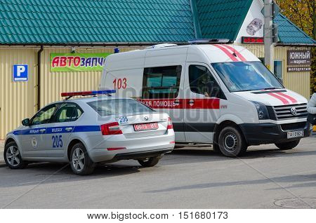 SENNO BELARUS - OCTOBER 8 2016: Ambulance and police are on duty at regional festival-fair