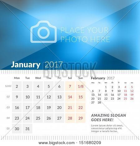 January 2017. Desk Calendar For 2017 Year. Week Starts Monday. 2 Months On Page. Vector Design Print