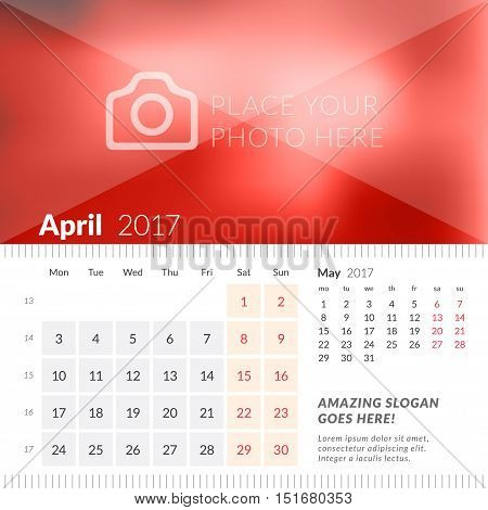 April 2017. Desk Calendar For 2017 Year. Week Starts Monday. 2 Months On Page. Vector Design Print T