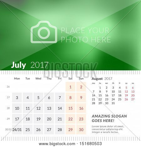 July 2017. Desk Calendar For 2017 Year. Week Starts Monday. 2 Months On Page. Vector Design Print Te