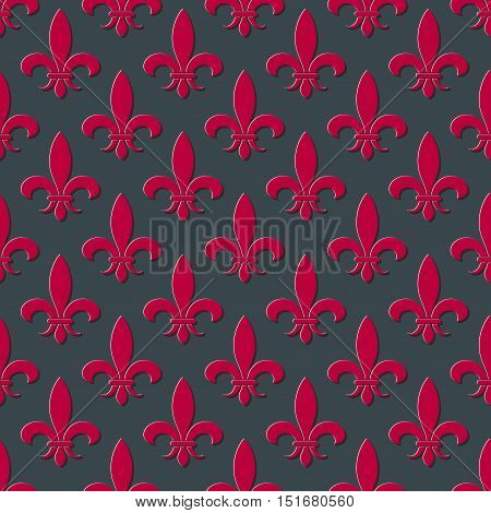 Red and gray fleur de lis seamless background. Pattern with french lily illustration