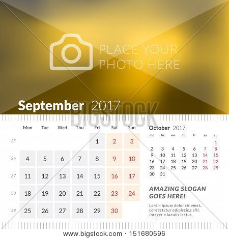 September 2017. Desk Calendar For 2017 Year. Week Starts Monday. 2 Months On Page. Vector Design Pri