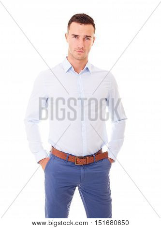 Young Man In A Blue Shirt On White Background