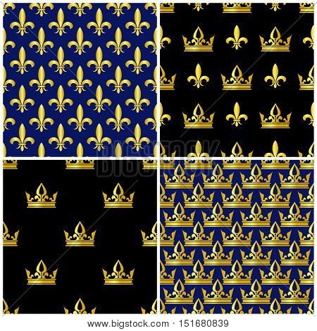 Golden crowns and fleur de lis seamless patterns set. Royal background collection illustration