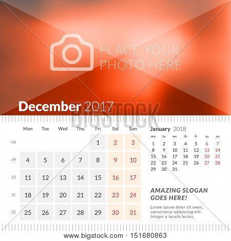 December 2017. Desk Calendar For 2017 Year. Week Starts Monday. 2 Months On Page. Vector Design Prin