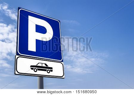 Parking signal with clouds and sky on background