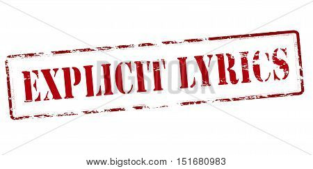 Rubber stamp with text explicit lyrics inside vector illustration