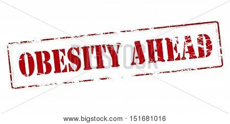 Rubber stamp with text obesity ahead inside vector illustration
