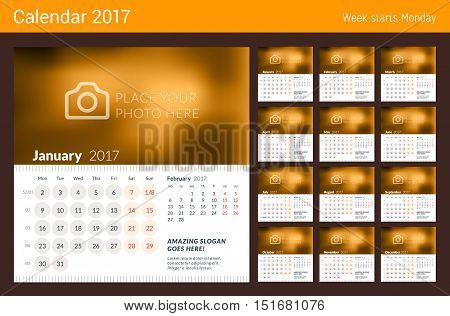 Desk Calendar For 2017 Year. Week Starts Monday. 2 Months On Page. Set Of 12 Months. Vector Design P