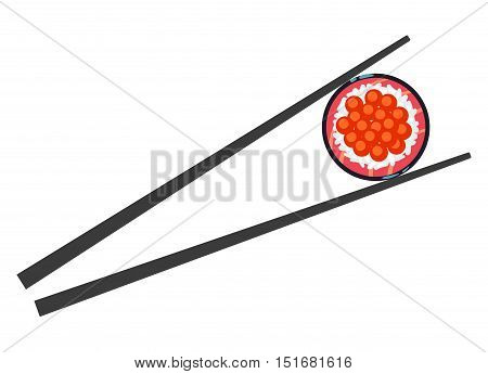 Sushi food and chopsticks vector illustration isolated on white background