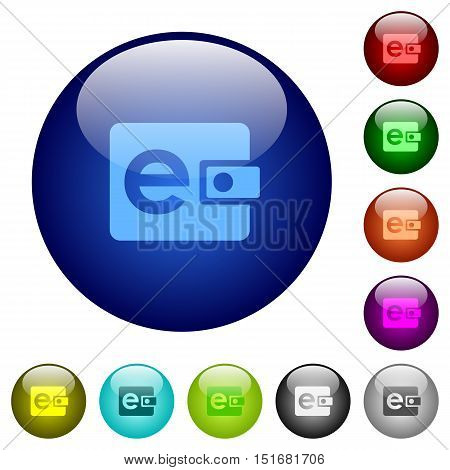 Set of color electronic wallet glass web buttons.