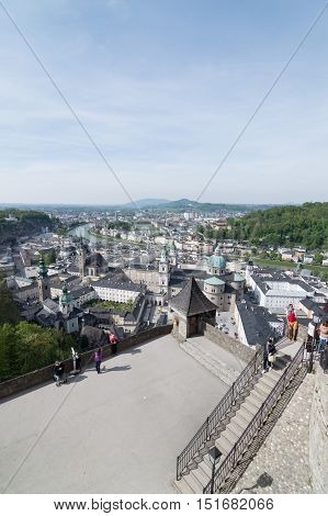 Salzburg Austria - April 29 2015: View from Hohensalzburg Castle. Salzburg is renowned for its baroque architecture and was the birthplace of Mozart. It is an Unesco World Heritage Site.