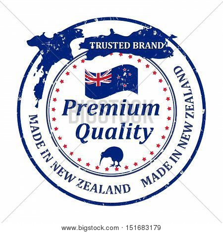 Made in New Zealand, Trusted Brand, Premium quality because we care - grunge business stamp with the map and flag of New Zealand.