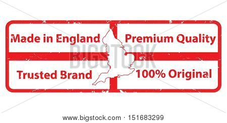 Made in England, Premium quality, Original Product, Trusted Brand - grunge label / stamp with the map of England