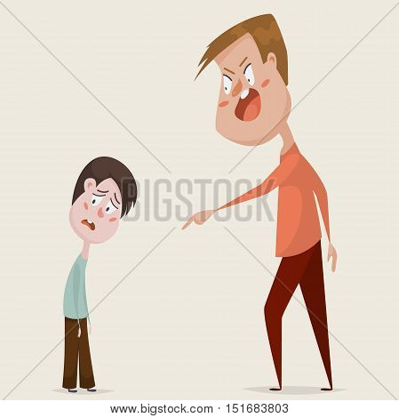 Family conflict. Aggressive man threats and shouts on oppressed boy in anger. Emotional concept of aggression, tyranny and despotism. Negative emotions. Cartoon characters. Vector illustration