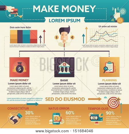 Make Money - info poster, brochure cover template layout with flat design icons, other infographic elements and filler text