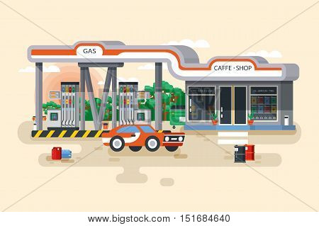 Stock vector illustration of gas and petrol filling station in a flat style