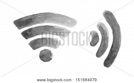 Watercolor wi fi icon. Isolated internet symbol in white background.