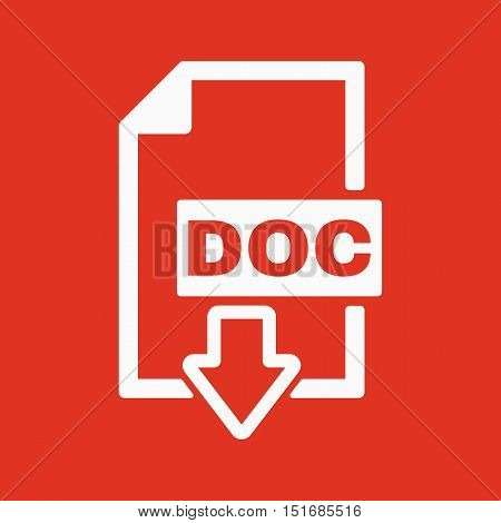 The DOC icon. Text file format symbol. Flat Vector illustration