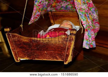 cradle,baby bed, old, wooden, Russian culture, rocking, hanging