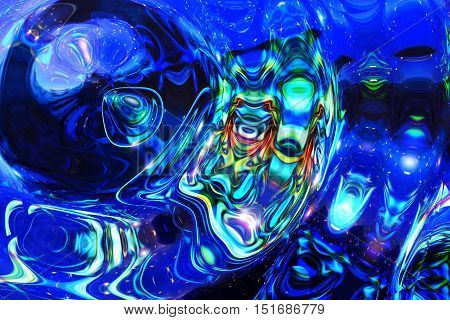 Abstract cosmic space motif, blue color abstract background