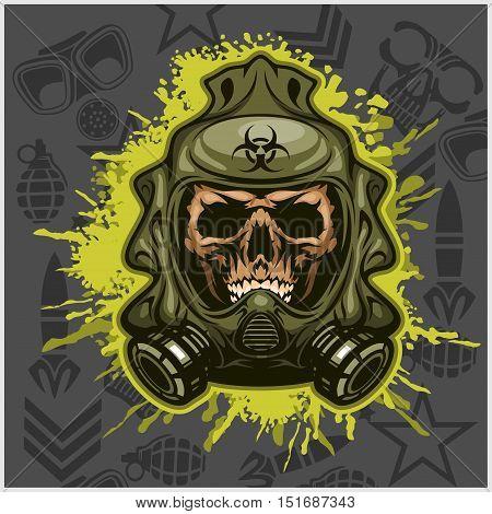 Biohazard - skull mask, virus infection. Isolated on white
