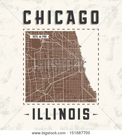 Chicago Vintage T-shirt Graphic Design With City Map. Tee Shirt Print, Typography, Label, Badge, Emb