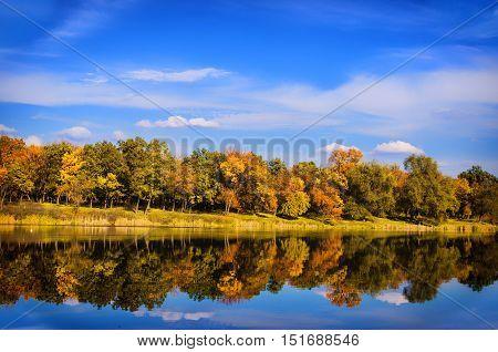 Beautiful Landscape In Autumn Sunny Day
