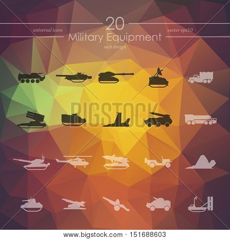 military equipment modern icons for mobile interface on blurred background